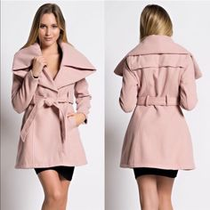 XX - PARIS wide collar fall coat - PINK Long sleeve, wide collar coat with waist belt in solid felt fabric. Wear this dramatic winter coat over a bodycon midi dress and mid-calf high heel boots for a sultry, cozy look or with skinny or leggings. Perfect for showing off your curves, even on the coldest days. NO TRADE, PRICE FIRM Jackets & Coats