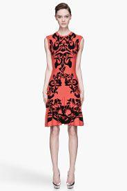 MCQ ALEXANDER MCQUEEN Poppy red and black knit Flirty Dress