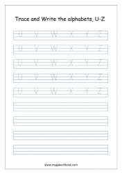 English Worksheet - Alphabet Writing - Capital Letters U-Z Worksheets For Class 1, Alphabet Tracing Worksheets, Alphabet Templates, Tracing Letters, Writing Worksheets, English Alphabet Writing, English Handwriting, Handwriting Alphabet, Tracing Sheets