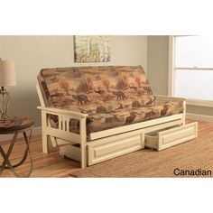 Somette Beli Mont Futon with Antique White Hardwood Frame Rustic Pattern Cotton/Polyester Mattress and Storage Drawers