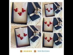 MOUSE EARS Necklace and Earrings Set for Themed #Wedding Party in Dazzling Bright Red Acrylic #Jewelry #JewelrySet  Click on the link below and search for mouse to see more colors. Happily repin to your accounts and follow me. https://www.etsy.com/listing/246669324/mouse-ears-necklace-and-earrings-set-for?ref=listing-shop-header-0