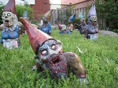 zombie gnomes - I MUST have these for my garden!  http://www.etsy.com/listing/73913334/zombie-garden-gnome-walking-dead-back