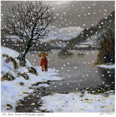 We Love Snow and Rydal Water.  Large mounted print.