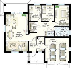 House design Kaprys N m² - Domowe Klimaty House Layout Plans, House Layouts, House Plans Mansion, House Floor Plans, European House, House Entrance, Home Projects, Planer, Architecture Design