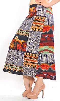 80s Boho Hippie India Ethnic Tribal patchwork skirt - shabbybabe  - 1