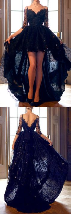 Elegant High Low Half Sleeves Black Backless Lace Prom/Evening Dress