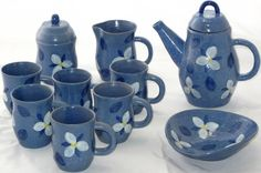 Vintage 1978 Ontario Blue Glaze Handmade with Makers Mark (JZP) Pottery Set Coffee Pot, Creamer & Sugar w/Lid, 6 Cups and Bowl