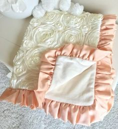 Ivory Roses and Blush Crib Bedding