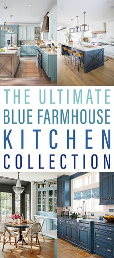 The Ultimate Blue Farmhouse Kitchen Collection - The Cottage Market - - The Ultimate Blue Farmhouse Kitchen Collection is filled with a ton of dreamy inspiration… gorgeous islands… fabulous hardware… incredible lighting. Farm Kitchen Ideas, Farmhouse Kitchen Inspiration, Diy Kitchen, Blue Kitchen Decor, White Farmhouse Kitchens, Cottage Kitchens, Farmhouse Style, Farmhouse Decor, Farmhouse Sinks