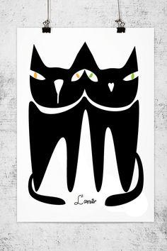 Black cat print  / Cat art - black cat poster art print by nicemiceforyou. $20.00, via Etsy.
