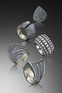 Rings | Dahlia Kanner.  Sterling silver with patina