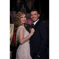 Lily James and Richard Madden 'Cinderella' Disneyland Resort Screening ❤ liked on Polyvore featuring lily james