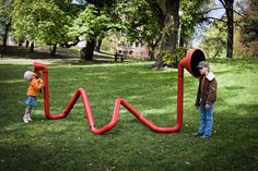 """Visually interesting and playfully purposeful, """"Invoxicated"""" is an interactive sound effects sculpture by Karl-Johan Ekeroth.  He says, """"Invoxicated is a interactive play sculpture where children can experience the pure joy of playing with sound effects in the public space."""""""