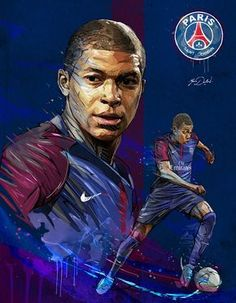 My painting of Kylian Mbappé, young soccer pla yer of the PSG. Best Football Players, Football Is Life, Football Art, Soccer Players, Sport Football, College Football, American Football, European Football, Soccer Pro