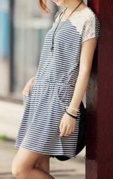 Descubre lo Nuevo @ www.urvanidad.com @ Striped Lace Cotton Dress – Disponible en azul y rosa @ http://urvanidad.com/?p=14832