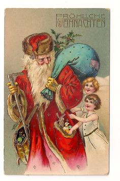 Santa father christmas postcard *** rare series ** 1 of 6 cards girls heavy gold