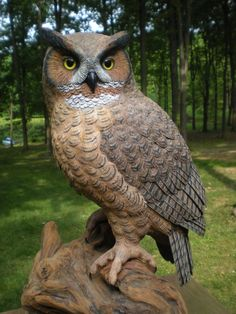 Great-horned Owl _Wood Sculpture by Brad Wiley