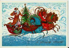 Santa on Russian Troyka of Horses  Soviet Postcard by LucyMarket, $3.99