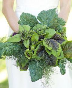 Flower Bouquet Alternatives // Leafy Greens // The Knot Blog walking on sunshine:-) unusual wedding bouquet #unique #wedding #bouquet