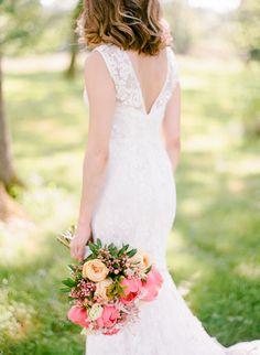 Colorful pink and peach peony wedding bouquet: Wedding Dress: Monique Lhuillier - http://www.moniquelhuillier.com/ Bridesmaids' Dresses: J.Crew - http://www.jcrew.com/ Groom's Attire: Michael Andrews Bespoke - http://www.stylemepretty.com/portfolio/michael-andrews-bespoke   Read More on SMP: http://www.stylemepretty.com/2017/01/11/organic-farm-wedding/