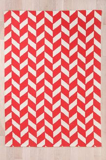 Red Herringbone Rug