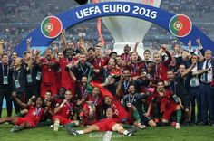 Portugal team celebrates their surprising Euro 2016 victory. Video. Winners of…