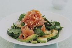 The classic Japanese flavours of avocado and salmon are re-invented in this healthy salad.