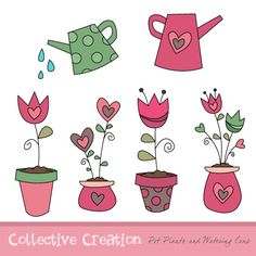 Tulip and Heart Flower Pot Plants with Watering Cans Digital Clipart Set- Ideal for Scrapbooking, Cardmaking and Paper Crafts. $3.60, via Etsy.