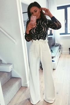 Order the Sarah Ashcroft Tall White Flared High Waisted Paperbag Trousers from In The Style. Night Out Outfit Classy, Classy Going Out Outfits, Classy Work Outfits, Night Outfits, Fashion Night, Look Fashion, Fashion Outfits, Womens Fashion, Fashion Trends