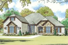 House Plan 8318-00066 - European Plan: 2,538 Square Feet, 4 Bedrooms, 3.5 Bathrooms European Plan, European House, Garage House Plans, Best House Plans, Car Garage, French Country House Plans, Country Farmhouse, Room Above Garage, French Style Homes