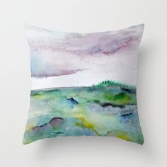 """""""337"""" abstract watercolor landscape Throw Pillow by Carol Farnum Art - $20.00"""