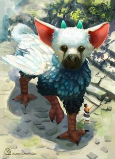 The last gardien / Trico Magical Creatures, Fantasy Creatures, Anime Animals, Cute Animals, Beast Creature, Shadow Of The Colossus, Animal Magic, Animal Books, Cute Animal Drawings