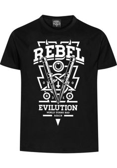 The #Rebel #Rockers #Knife T-#shirt has a regular cut and a very soft and comfortable cotton fabric. It comes with a crew neck and with a totally bad-ass print on the front which features switchblades, devil horns, an upside-down cross, and all kinds of evil stuff! #titus #skateshop #onlineshop
