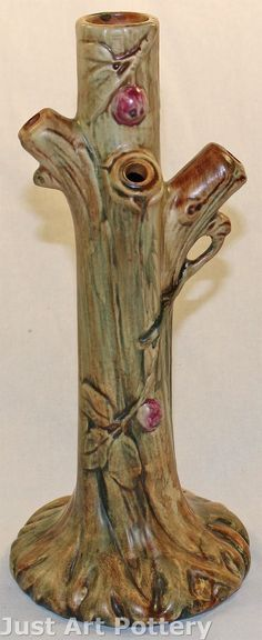 Weller Pottery Woodcraft Tree Shaped Bud Vase from Just Art Pottery