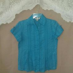 Aqua button up blouse Preloved / in excellent condition Coldwater Creek Tops Button Down Shirts