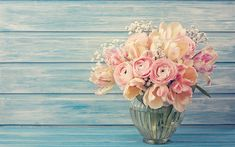 Download wallpapers pink flowers, Ranunculus, bouquet of flowers, vase with flowers