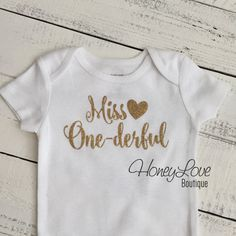 Miss One-derful - SILVER or GOLD glitter First Birthday, 1st Cake Smash baby girl, sparkly sparkle glittery ONEderful party shirt bodysuit by HoneyLoveBoutique