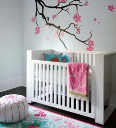 Modern Baby Girl Nursery - Room Love this simple design with the Cherry Tree Branch on the Wall & Lovely Floral Rug! Nursery Wall Decor, Nursery Room, Girl Nursery, Room Decor, Nursery Ideas, White Nursery, Project Nursery, Nursery Inspiration, Nursery Decor
