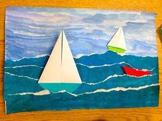 vene, meri, kesä, repiminen, vesiväri, monipuolisesti taitoja, monivaiheinen askartelu ARTipelago: Seascapes