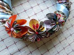 Virágokkal. Papírfonással, saját munka/Paper weaving, my own work