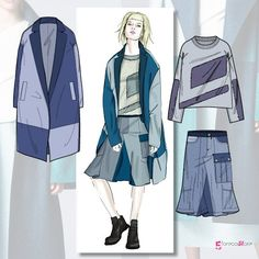 Trends : presents the new Denim trend theme for A/W portfolio Fashion Flats, Fashion Art, Trendy Fashion, Fashion Outfits, Fashion Trends, Portfolio Mode, Fashion Portfolio, Fashion Sketchbook, Fashion Sketches