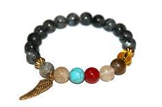 Wing Bracelet Labradorite Jewelry Mala Bracelet Meditation Stones Mantra Bracelet Mens Bracelet Healing Beads Man Yoga Bracelet Gift for Him