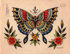 Traditional butterfly tattoo, traditional tattoo flash, tatuagem new school Tattoos Skull, Body Art Tattoos, Tattoo Drawings, Sleeve Tattoos, Traditional Butterfly Tattoo, Traditional Tattoo Flash, Trendy Tattoos, Small Tattoos, Los Muertos Tattoo