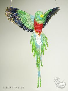 Quetzal Beaded Bird Suncatcher, Beaded Bird Window Decor, Bird Ornament, 3D Bead Bird Figure, Bird Necklace, Mirror Decor / Quetzal / BB034