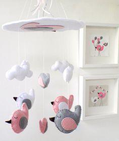 Baby Crib Mobile  Baby Mobile  Nursery Crib by LaPetiteMelina grey and pink nursery inspiration