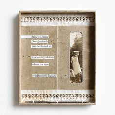 mixed media collage by Kaija Rantakari / paperiaarre.com vintage photo, vintage packaging, cut up text from an old book, vintage lace, vintage wire boning, sewing thread, board, handmade paper, linen thread) 11,2×13,8×1,3cm / 4.4″x5.4″x0.5″