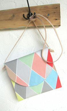 Tasche Clutch mit Lederhenkeln, pastell von anlukaa glas&mehr auf DaWanda.com