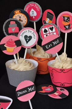 Alice in Wonderland & Mad Hatter inspired Tea Party PERSONALIZED cupcake toppers / favor tags - Birthday / Bridal Shower / Baby Shower. $8.00, via Etsy.