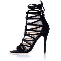 River Island Black suede lace-up caged heels ($130) ❤ liked on Polyvore featuring shoes, pumps, black, lace up / caged shoes, shoes / boots, women, black open toe pumps, stiletto pumps, high heel shoes and black lace up shoes
