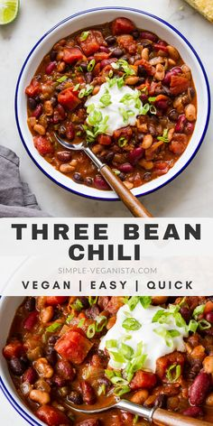This quick and easy Three Bean Chili recipe is perfect when you want a cozy warm vegan chili in 30 minutes or less Healthy hearty and perfect for lunch dinner or meal prep ideas veganrecipes veganchili healthyrecipes Healthy Recipes, Vegan Dinner Recipes, Vegan Dinners, Whole Food Recipes, Vegetarian Recipes, Cooking Recipes, Simple Vegan Chili Recipe, Best Vegan Chili, Recipes